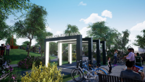 The Santa Ana River Trail Monument Entrance connects Costa Mesa to the SoCo shopping district and Sunflower north of the 405 without ever having to see a stop light!